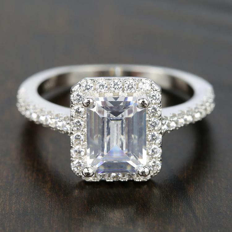 Emerald Cut Halo Diamond Engagement Rings: 2 Carat Emerald-Cut Diamond Halo Engagement Ring