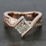 2 Carat Princess Diamond Rose Bridge Engagement Ring - small