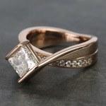 2 Carat Princess Diamond Rose Bridge Engagement Ring - small angle 2