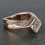 2 Carat Princess Diamond Rose Bridge Engagement Ring - small angle 3