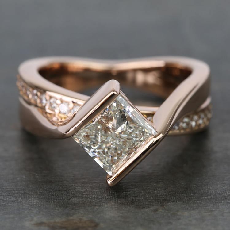 2 Carat Princess Diamond Rose Bridge Engagement Ring