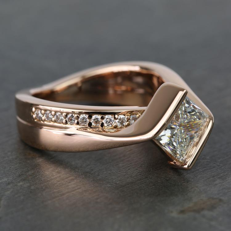 2 Carat Princess Diamond Rose Bridge Engagement Ring angle 3