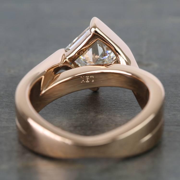 2 Carat Princess Diamond Rose Bridge Engagement Ring angle 4