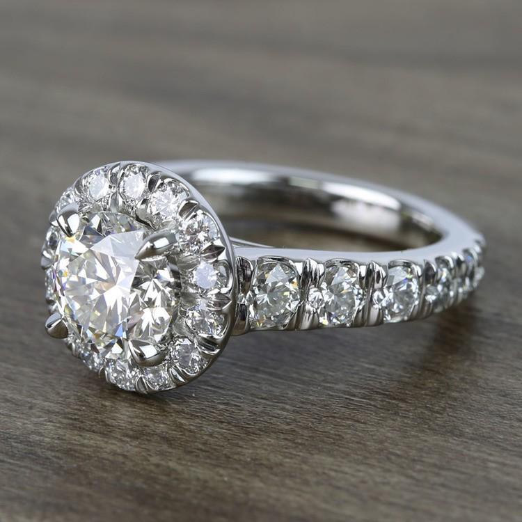 2 Carat Round Custom Halo Diamond Ring angle 2