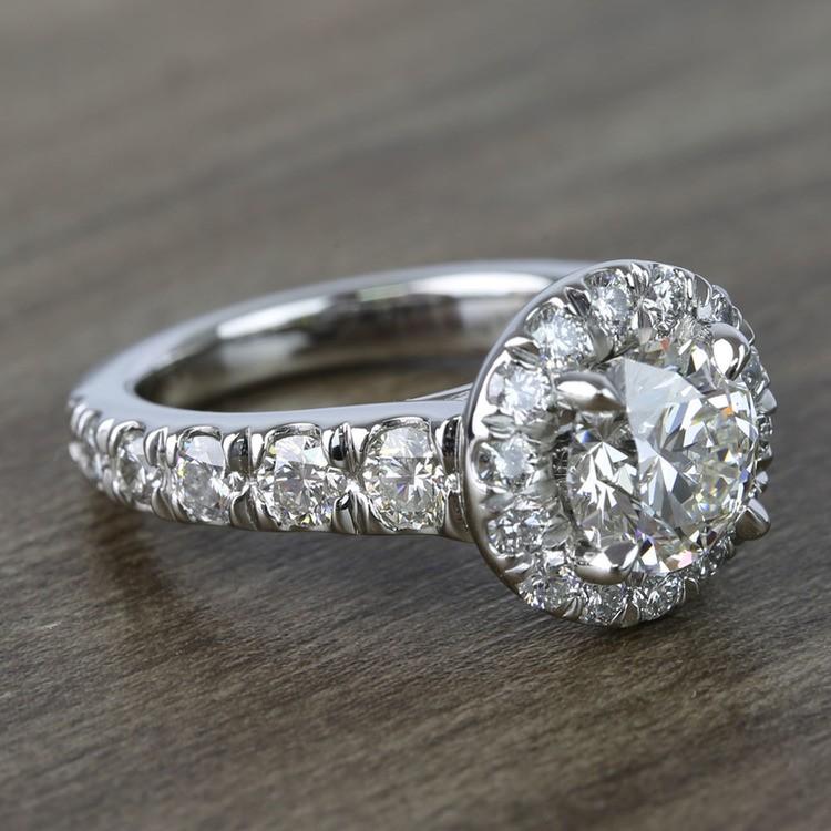 2 Carat Round Custom Halo Diamond Ring angle 3