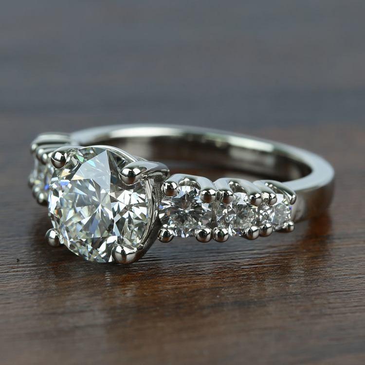 2 Carat Round Custom U-Prong Diamond Engagement Ring angle 2