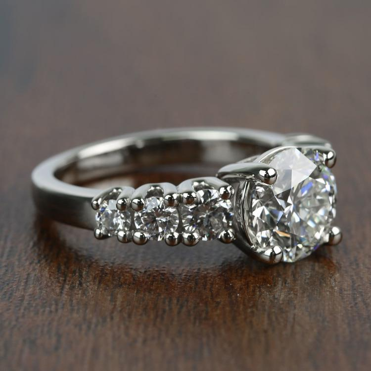 2 Carat Round Custom U-Prong Diamond Engagement Ring angle 3