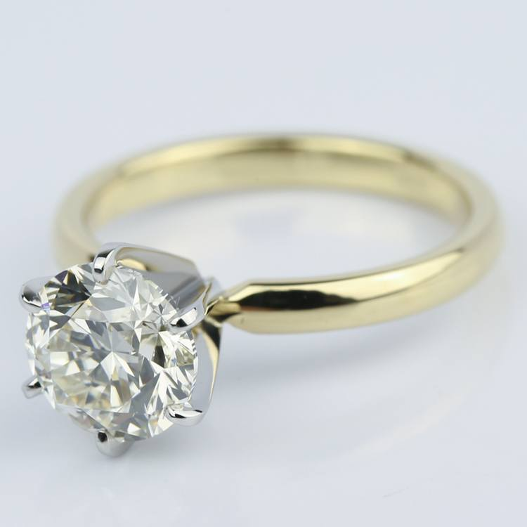 2 Carat Round Diamond Six-Prong Solitaire Engagement Ring angle 2