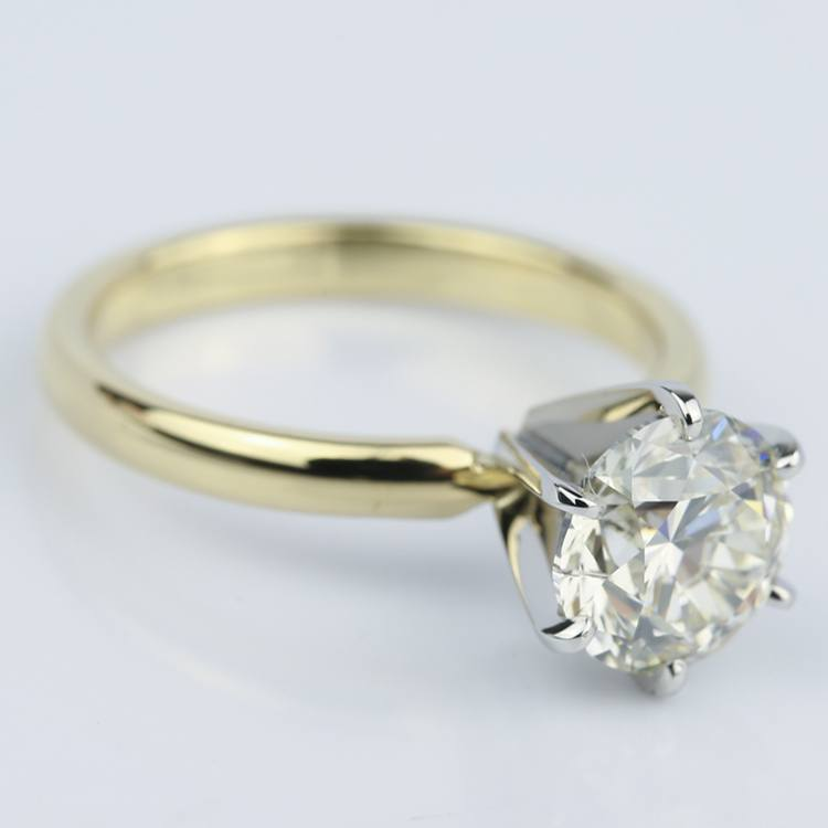 2 Carat Round Diamond Six-Prong Solitaire Engagement Ring angle 3