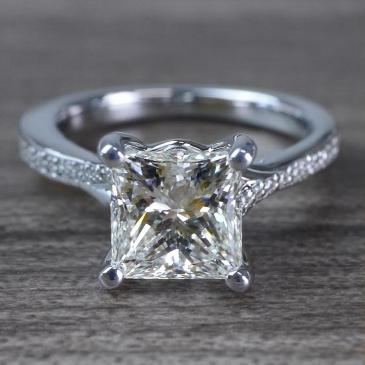 2.50 Carat Princess Cut Diamond Split Shank Engagement Ring