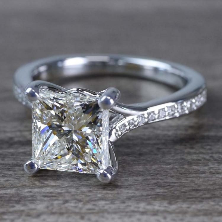 2.50 Carat Princess Cut Diamond Split Shank Engagement Ring angle 2