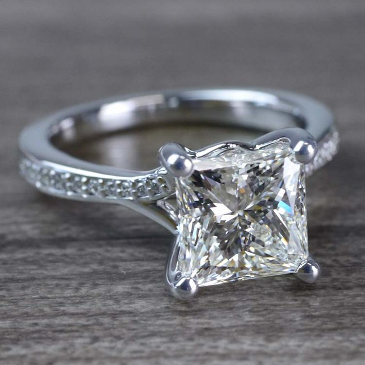 2.50 Carat Princess Cut Diamond Split Shank Engagement Ring angle 3