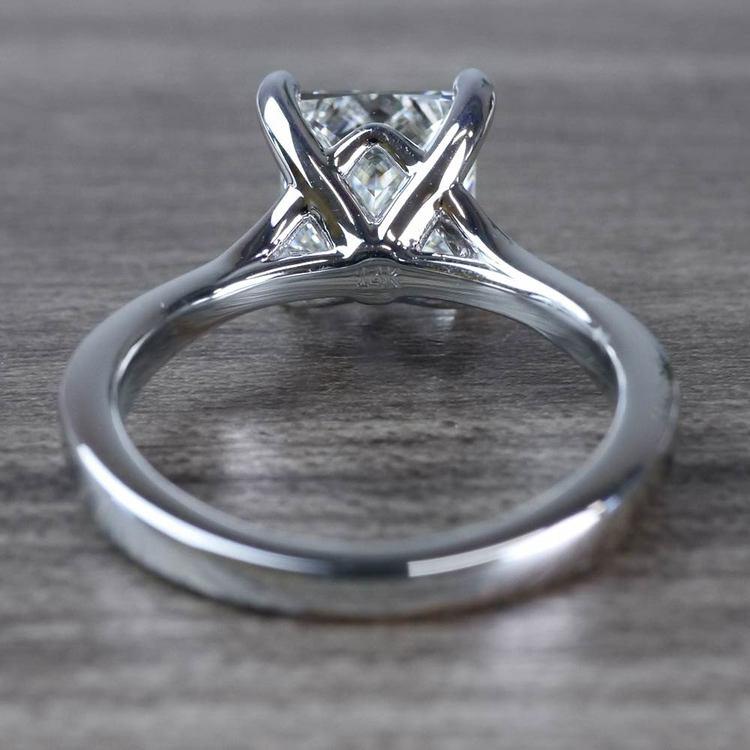 2.50 Carat Princess Cut Diamond Split Shank Engagement Ring angle 4
