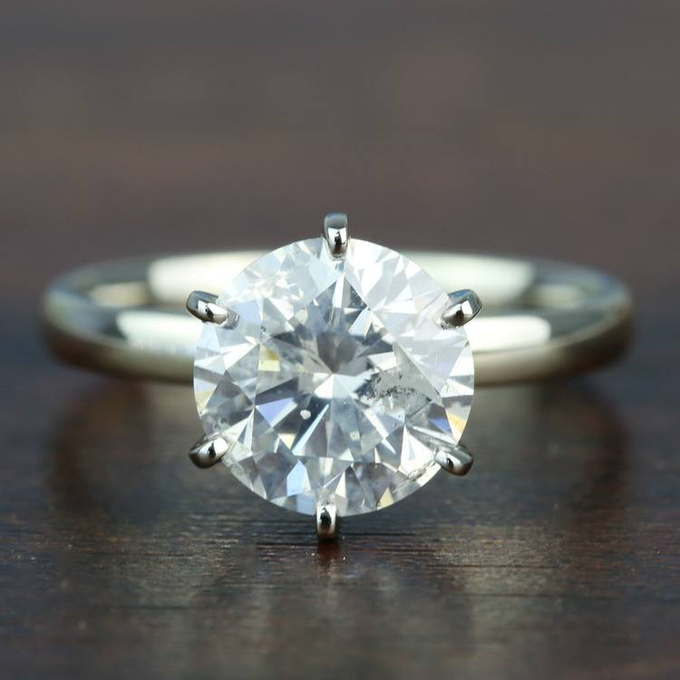 3.08 Carat Round Diamond In White Gold Six-Prong Solitaire Setting