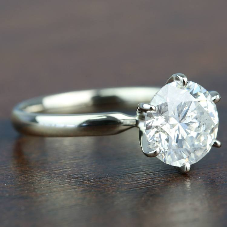 3.08 Carat Round Diamond In White Gold Six-Prong Solitaire Setting angle 3