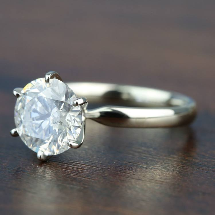 3.08 Carat Round Diamond In White Gold Six-Prong Solitaire Setting angle 2