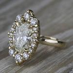 Dramatic Oval Halo Diamond Engagement Ring (3 Carat) - small angle 2