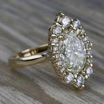 Dramatic Oval Halo Diamond Engagement Ring (3 Carat) - small angle 3