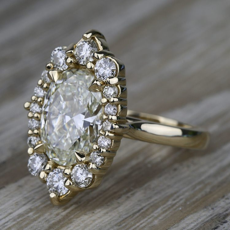 Dramatic Oval Halo Diamond Engagement Ring (3 Carat) angle 2