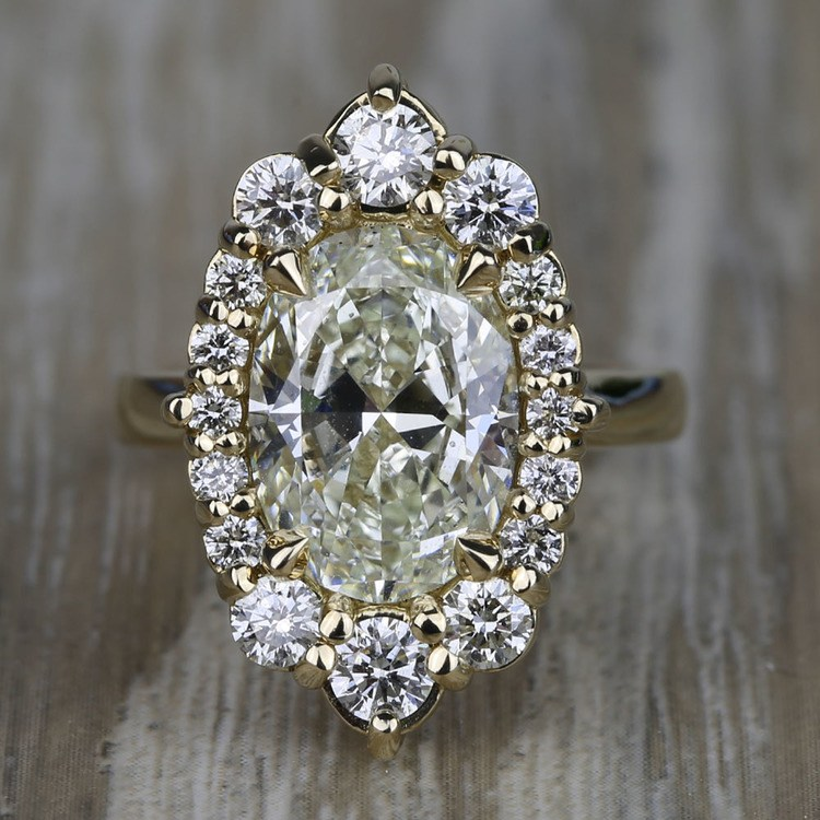 Dramatic Oval Halo Diamond Engagement Ring 3 Carat