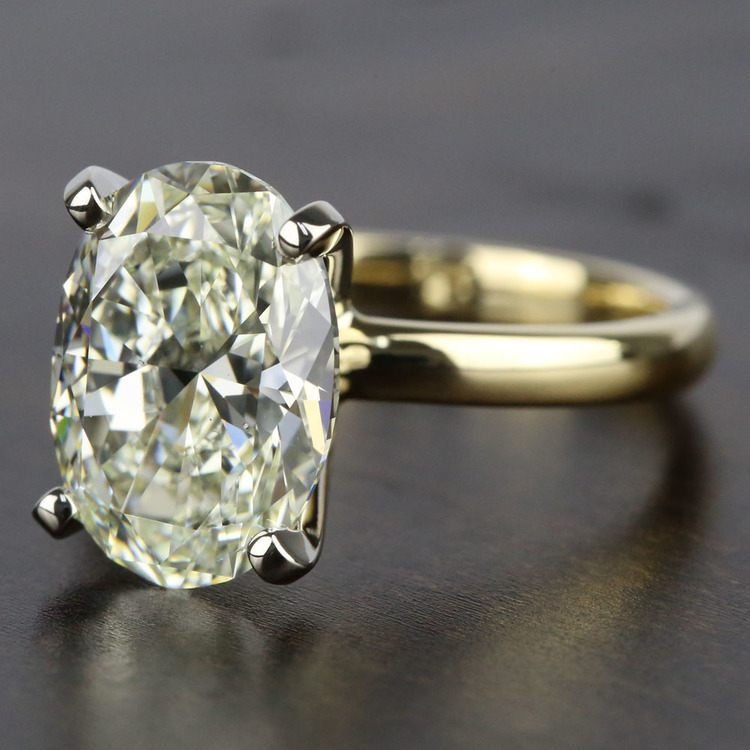 3 Carat Oval Diamond Solitaire Engagement Ring angle 2