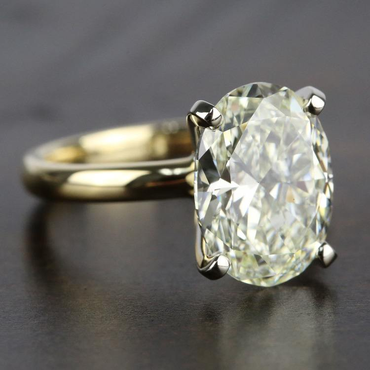 3 Carat Oval Diamond Solitaire Engagement Ring angle 3