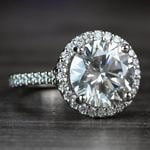3.50 Carat Round Diamond Pave Halo Engagement Ring - small angle 3