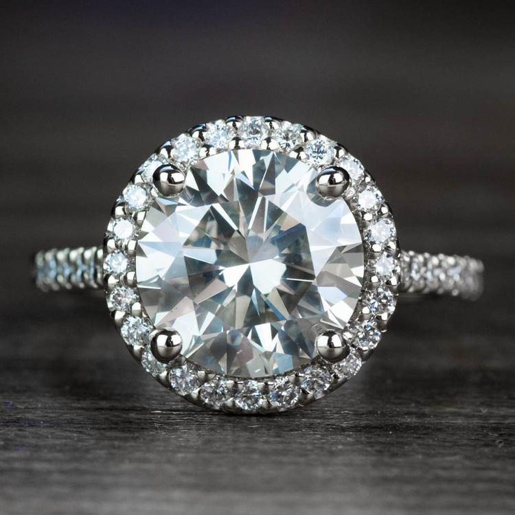 3.50 Carat Round Diamond Pave Halo Engagement Ring