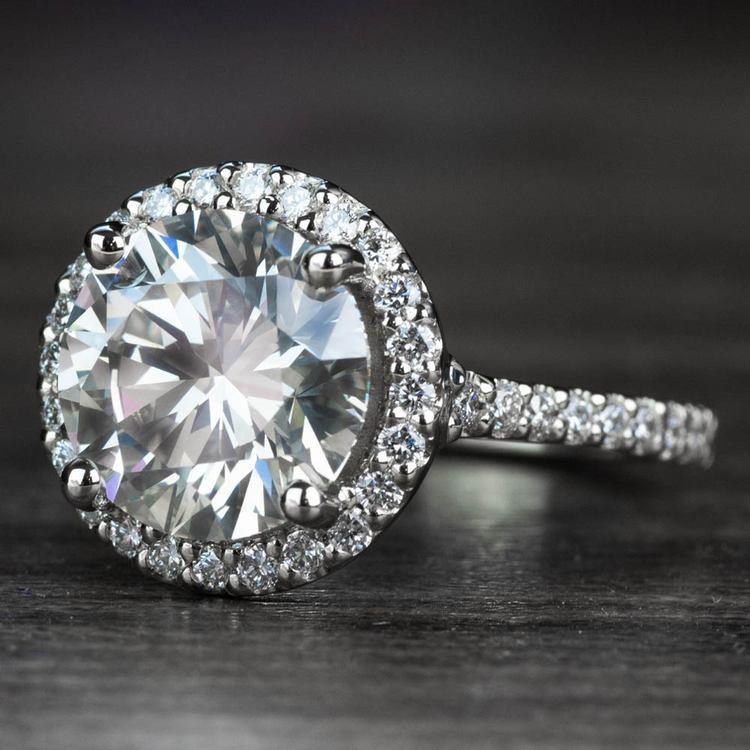 3.50 Carat Round Diamond Pave Halo Engagement Ring angle 2