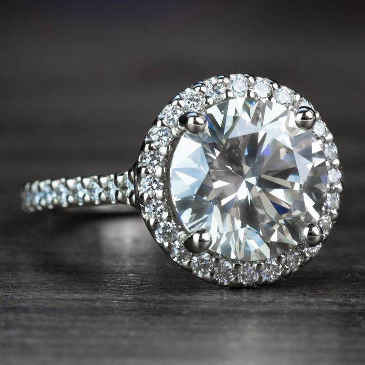 3.50 Carat Round Diamond Pave Halo Engagement Ring angle 3