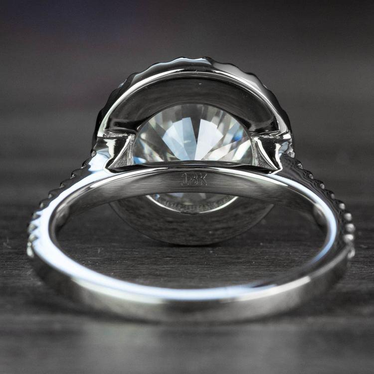 3.50 Carat Round Diamond Pave Halo Engagement Ring angle 4