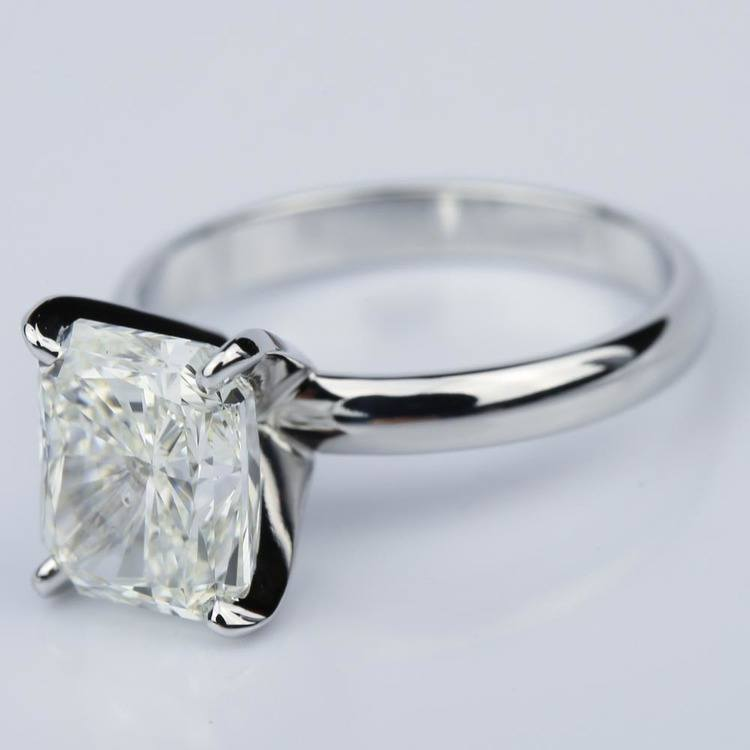 3.53 Carat Radiant Diamond with Classic Solitaire Engagement Ring angle 2