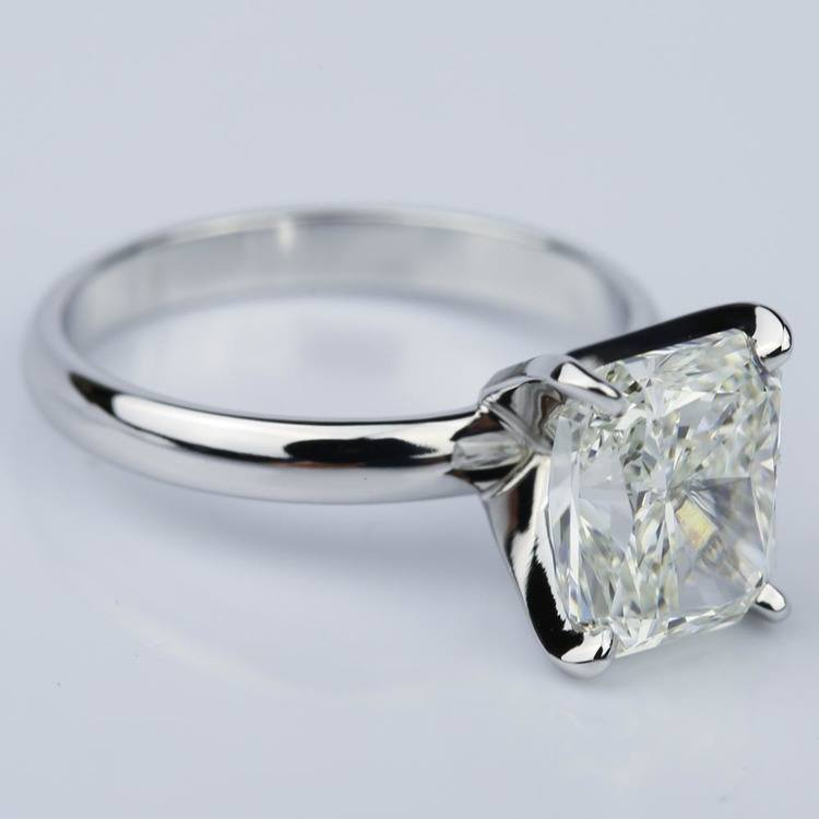 3.53 Carat Radiant Diamond with Classic Solitaire Engagement Ring angle 3