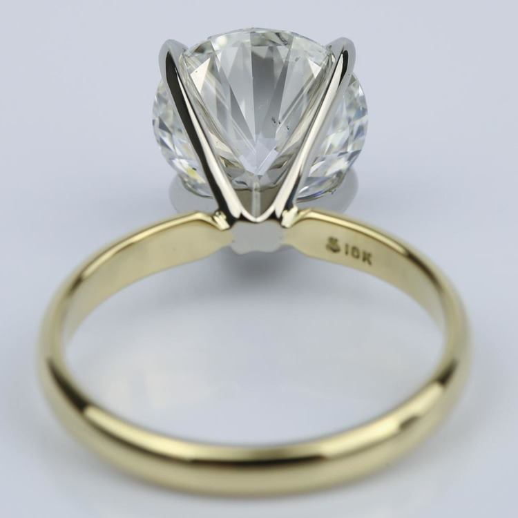 3.77 Carat Round Yellow Gold Classic Solitaire Engagement Ring angle 4