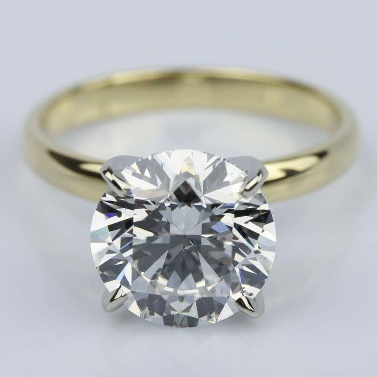3.77 Carat Round Yellow Gold Classic Solitaire Engagement Ring