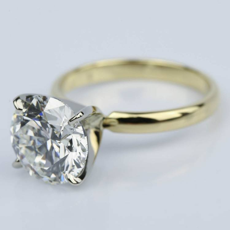 3.77 Carat Round Yellow Gold Classic Solitaire Engagement Ring angle 2