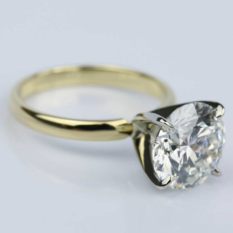 3.77 Carat Round Yellow Gold Classic Solitaire Engagement Ring angle 3