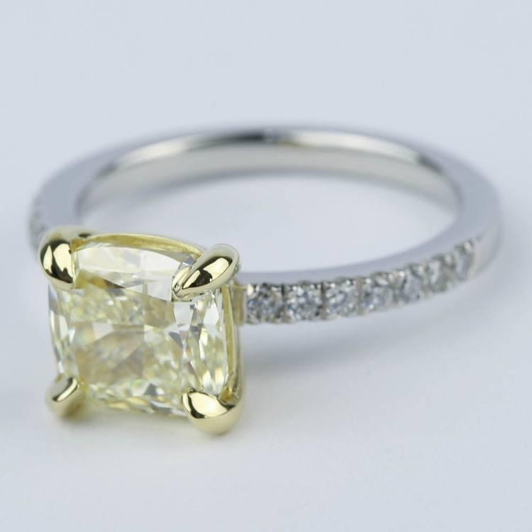 Fancy Yellow Cushion Diamond Engagement Ring 3 Carat