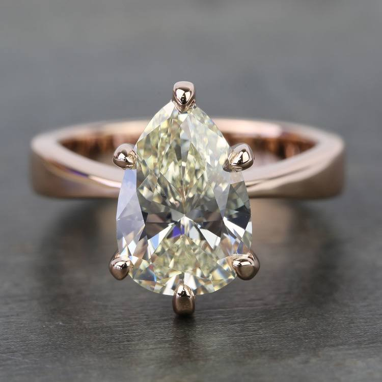 3 Carat Pear Diamond Custom Flat Taper Solitaire Engagement Ring