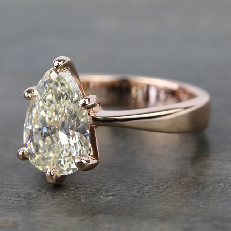 3 Carat Pear Diamond Custom Flat Taper Solitaire Engagement Ring angle 2