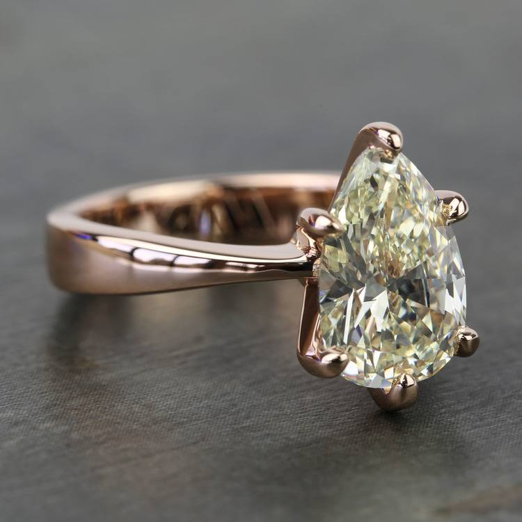 3 Carat Pear Diamond Custom Flat Taper Solitaire Engagement Ring angle 3