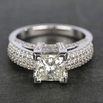 Three-Row Pave Princess Diamond Engagement Ring (1.70 ct.) - small