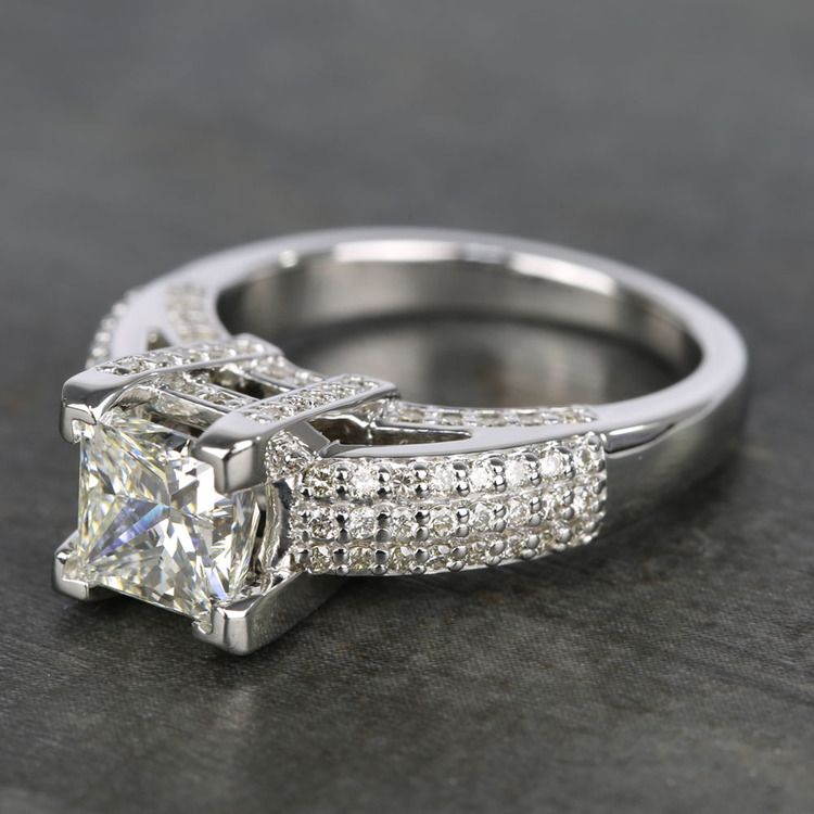 Three-Row Pave Princess Diamond Engagement Ring (1.70 ct.) angle 2