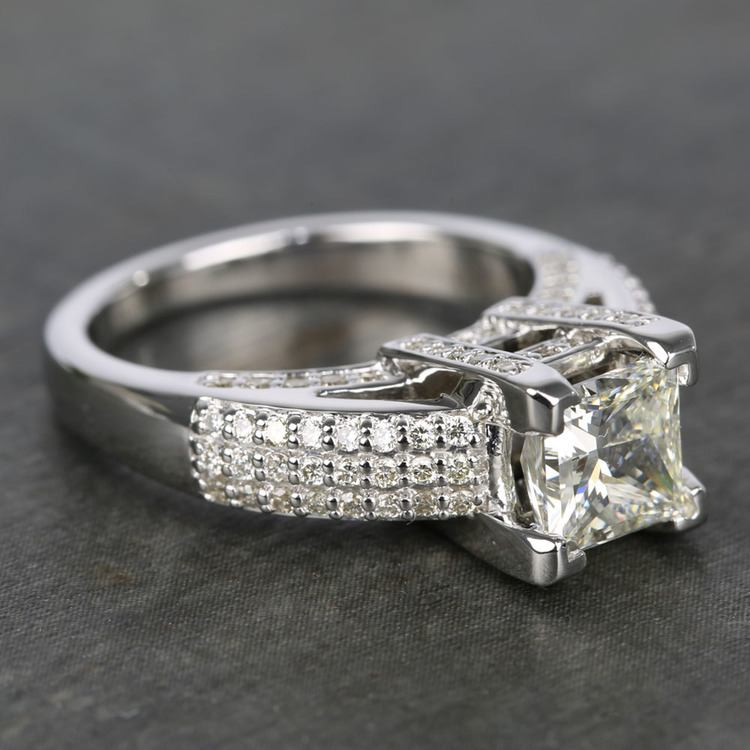 Three-Row Pave Princess Diamond Engagement Ring (1.70 ct.) angle 3
