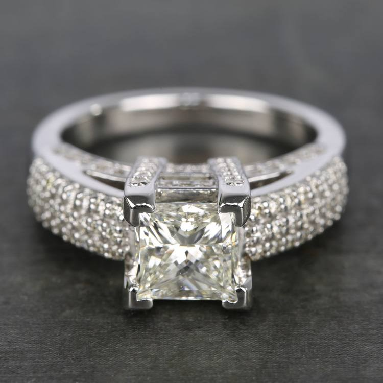 Three-Row Pave Princess Diamond Engagement Ring (1.70 ct.)