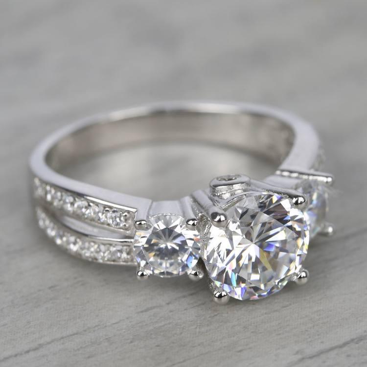 Three-Stone Split Shank Diamond Engagement Ring (1.50 Carat) angle 3