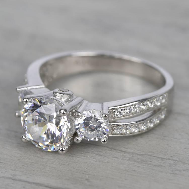Three-Stone Split Shank Diamond Engagement Ring (1.50 Carat) angle 2