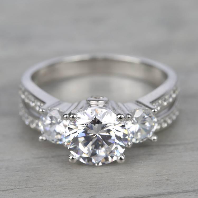Three-Stone Split Shank Diamond Engagement Ring (1.50 Carat)