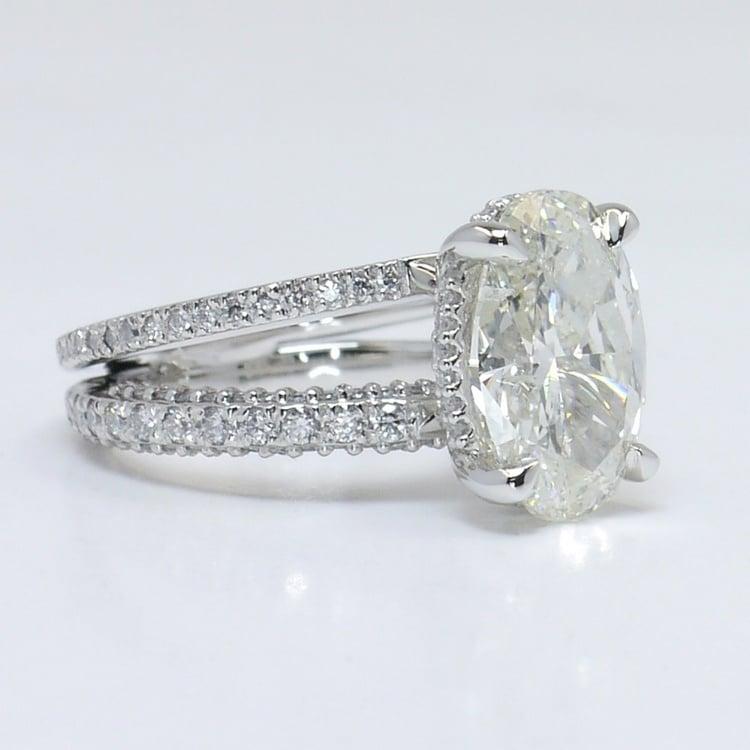 Custom Split Shank 3.5 Carat Oval Diamond Engagement Ring angle 3