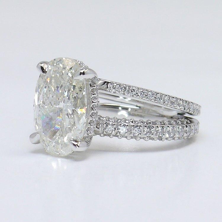 Custom Split Shank 3.5 Carat Oval Diamond Engagement Ring angle 2
